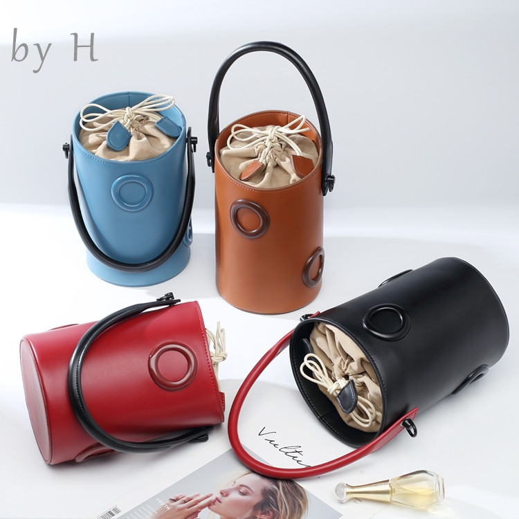 by H 2019 new genuine leather big ring bag Small Fairy Bag Portable Bucket Bag Casual Wild Single Shoulder Messenger Bag leatherby H 2019 new genuine leather big ring bag Small Fairy Bag Portable Bucket Bag Casual Wild Single Shoulder Messenger Bag leather