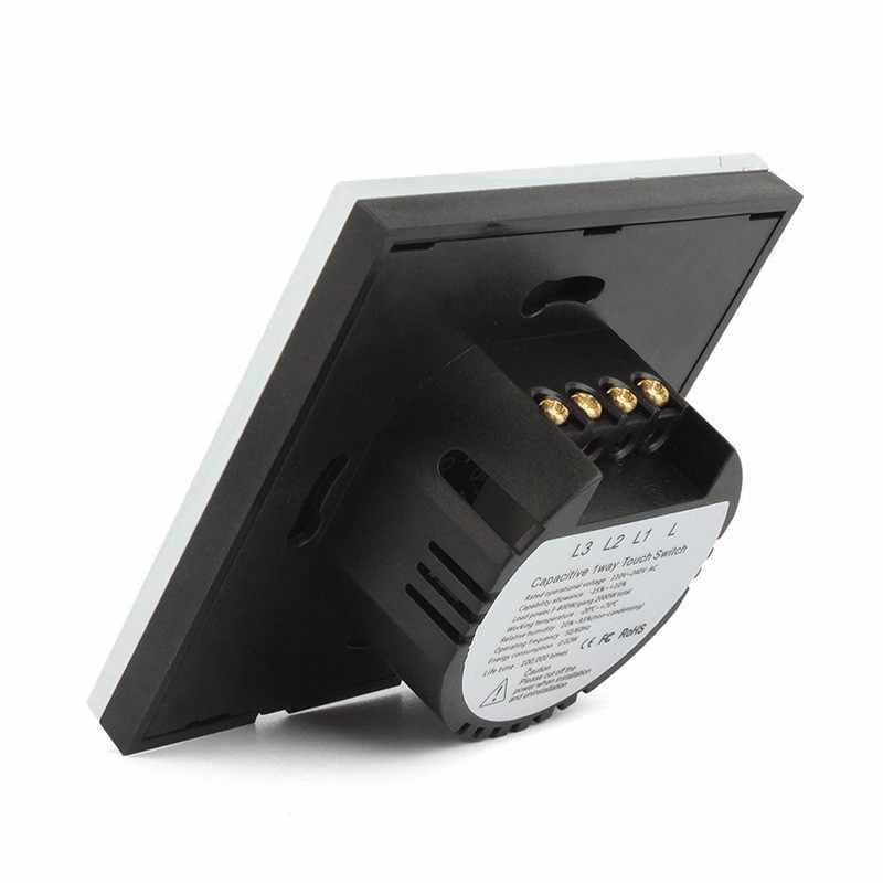 Стандарт ЕС/Великобритании, 220 В, светодиодная лампа, сенсорный выключатель, Хрустальная стеклянная панель, Огнеупорный настенный светильник, экранный переключатель, 3 комплекта, 1 способ, для умного дома, сделай сам