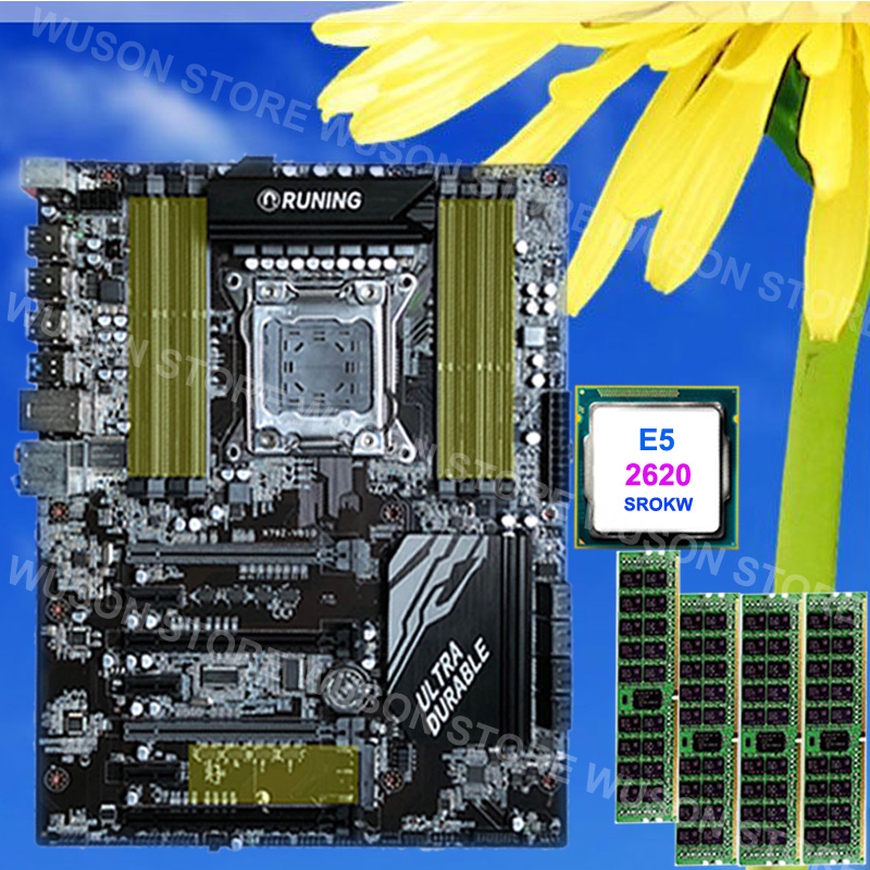 Best choice computer DIY brand Runing Super ATX X79 motherboard Intel Xeon E5 2620 SROKW 2.0GHz RAM 32G(4*8G) 1600MHz DDR3 RECC pc hardware supply runing x79 motherboard intel xeon e5 2620 srokw 2 0ghz ram 128g 8 16g ddr3 1600mhz reg ecc quality guarantee