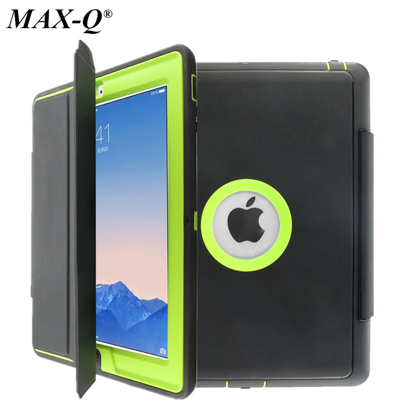 MAX-Q For Apple iPad 2 iPad 3 iPad 4 Retina Kids Safe Armor Shockproof Heavy Duty PU+TPU+PC Hard Stand Case Cover w/Screen Film