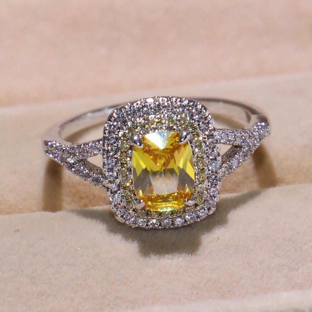Taille 6-10 nouveauté bijoux de luxe coussin forme or CZ 925 en argent Sterling fête dames femmes mariage bague de fiançailles - 2