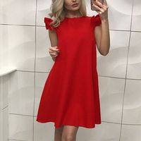 Oioninos 2017 Women Dresses Summer Casual Stand Collar Dress Loose Solid Short Sleeve Beach Party Dress Vestidoes