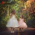 Lindo vestido de Baile Littler Flor Meninas Vestidos para Casamentos Renda Tule Meninas Comunhão Vestidos Do Partido Dos Miúdos Vestidos de Baile