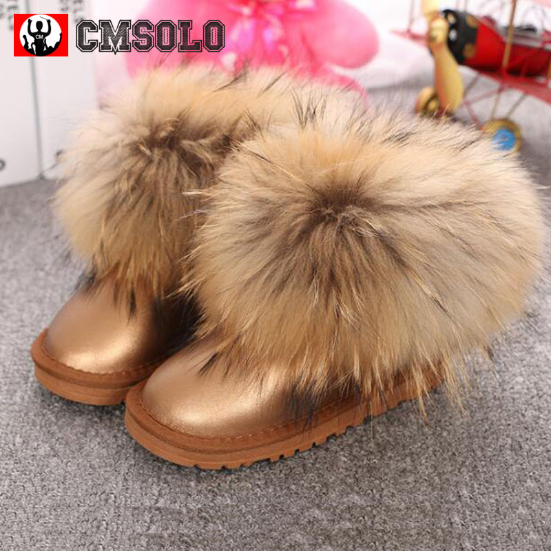 CMSOLO Ankle Boot Winter Children Brand Snow Boot Baby Girl Real Fox Hair Toddler Boy Genuine Leather Kid Warm Female Shoes 2017 2017 cow suede genuine leather female boots all season winter short plush to keep warm ankle boot solid snow boot bota feminina
