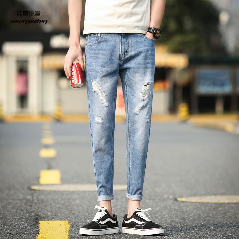 2018 summer new street hole mens Slim jeans, young wild cotton washed cowboy Harlan trend feet nine jeans men