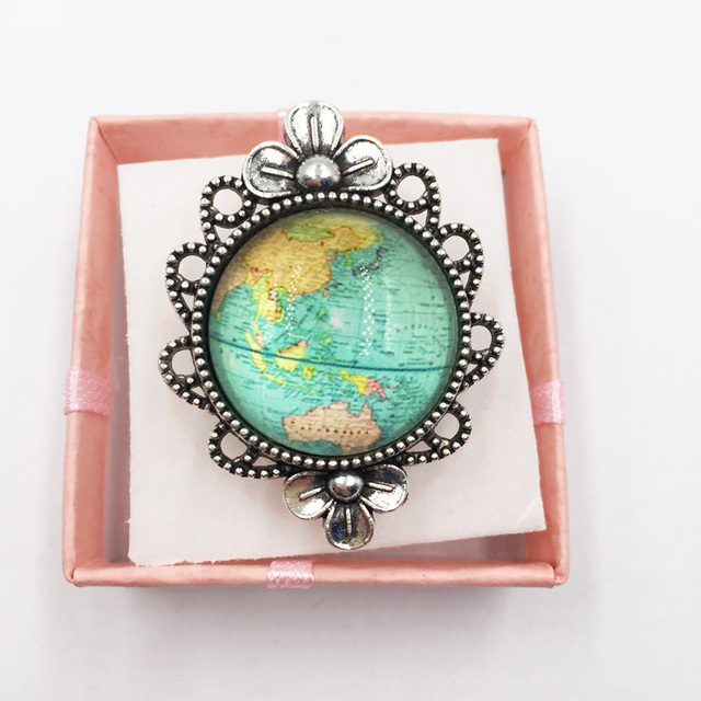 Hot Glass Dome Jewelry Vintage Globe Flower Ring Planet Earth World Map  Adjustable Ring Handmade Jewelry