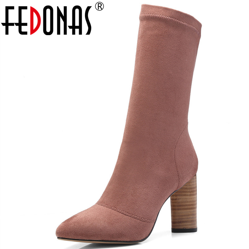 FEDONAS 1Fashion Women Mid-Calf Boots Autumn Winter Warm High Heels Shoes Woman Pointed Toe Elegant Office Career Stretch Boots fedonas 1new women mid calf boots autumn winter warm high heels shoes woman pointed toe elegant bling party prom dancing pumps