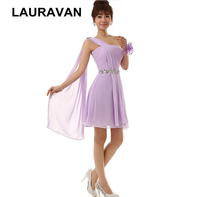 sweet 16 short cheap formal lace up back plus size lilac lavender chiffon  party bridesmaid dresses rhinestones for occasion 6c6ac65472ef