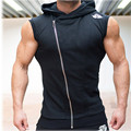 Mens Sleeveless Sweatshirt Hoodies Top Clothing T-Shirt Hooded Tank Top Sporting Hooded for Men Cotton Solid T Shirts Hooded