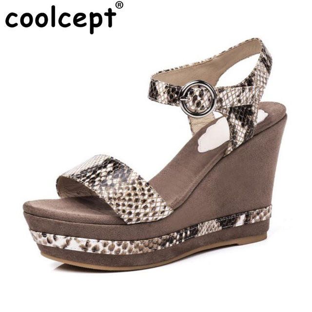 Coolcept Mature Women Genuine Leather Wedges Sandals Ankle Strap Peep Toe Platform  High Wedges Sandals Summer Shoes Size 34-39 db3a6f6950b7