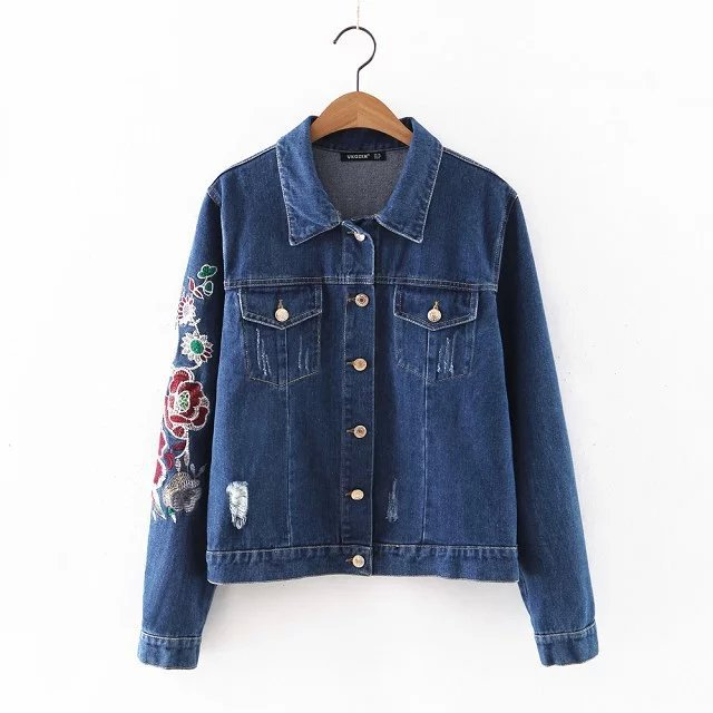2016 New Womenu0026#39;s Fashion Embroidered Jeans jacket casual short Jackets Sweet girlu0026#39;s coat Long ...