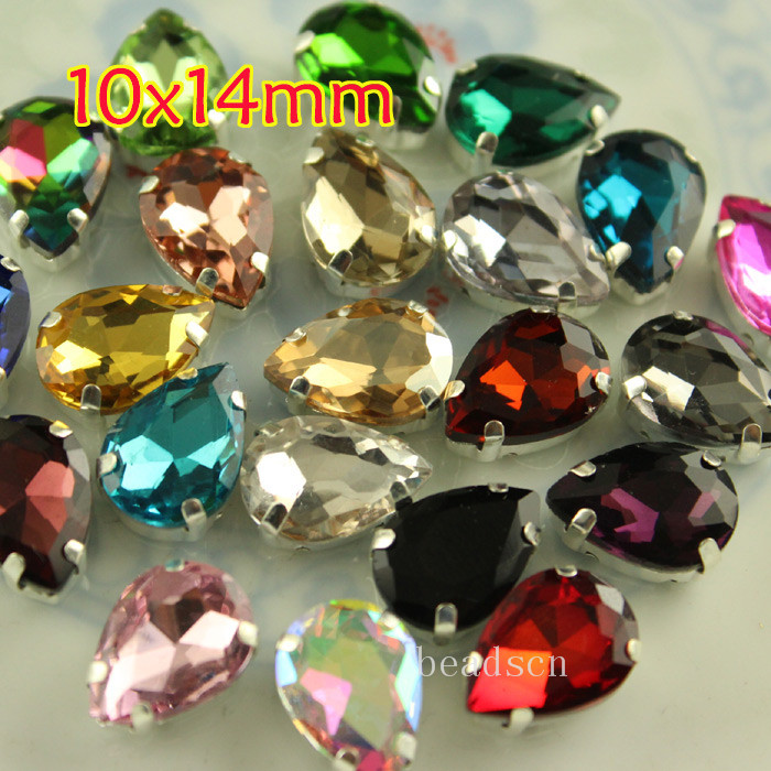 12pcs 10x14mm Sew On Teardrop Silver Setting Glass Crystal Jewellery Foiled Rhinestone Stones DIY Shoes/dress Hair Accessories