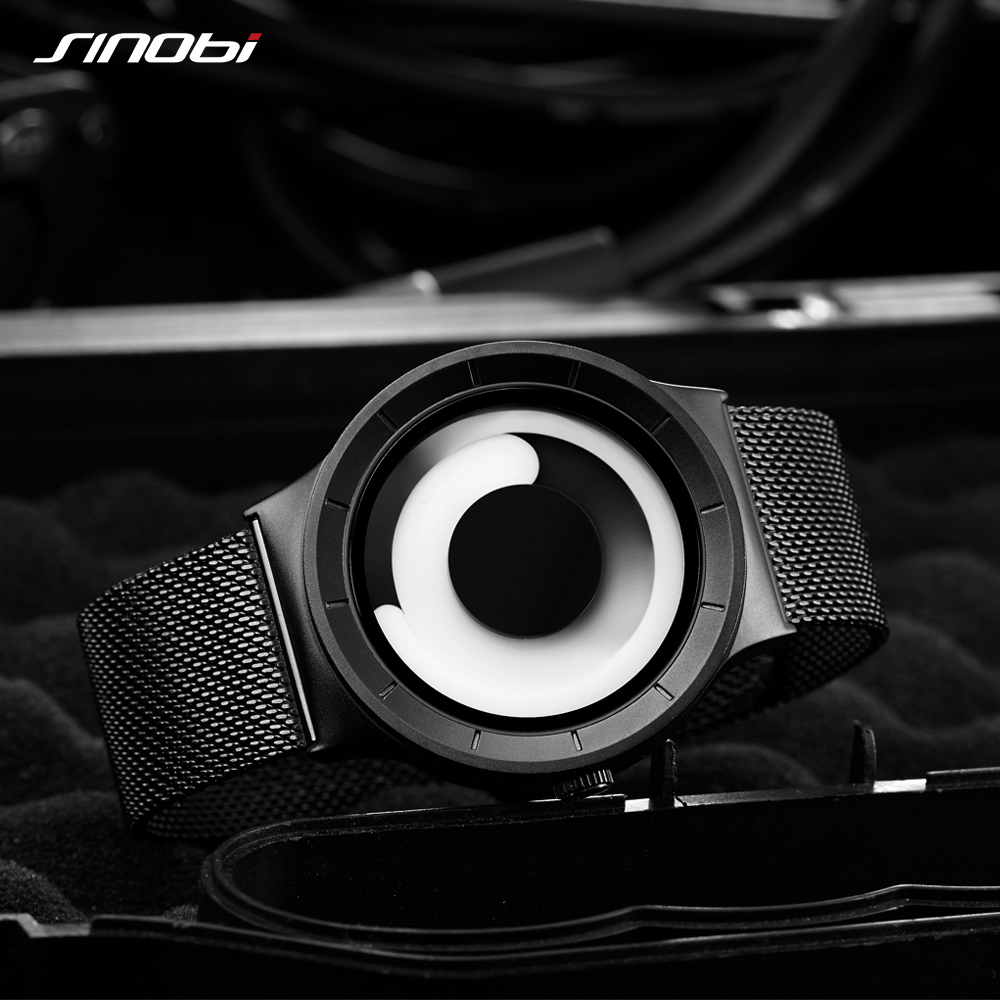 SINOBI Brand New Creative Rotation Men Watches 2018 Stainless Steel Mesh Strap Q