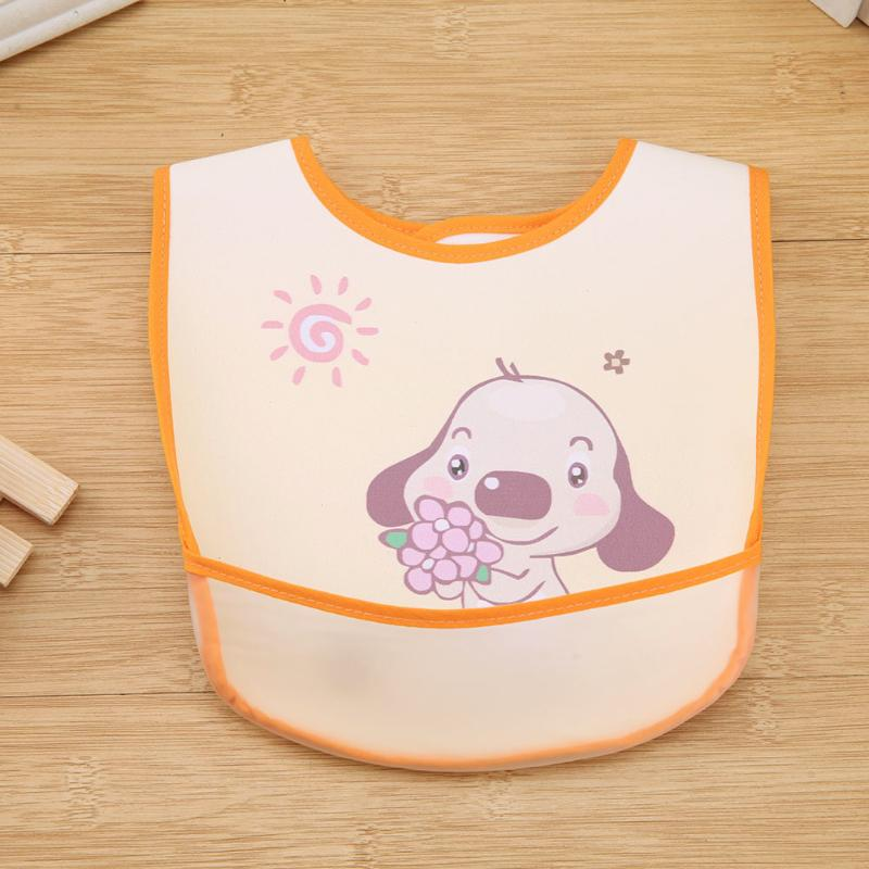 Cute Cartoon Pattern Baby Bibs Waterproof PVC Infants Burp Cloths Split Type Baby Feeding Care Tool
