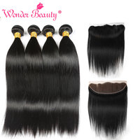 Wonder Beauty Peruvian Straight Hair Ear To Ear 13x4 Lace Front Closure With Bundles Human Hair