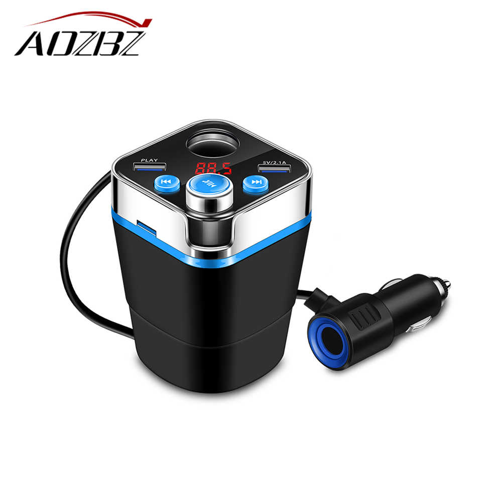 Bluetooth Car Kit Music Player FM Transmitter Modulator Cup Shape 120W Cigarett Lighter Socket Adapter 3.1A Dual USB Car Charger