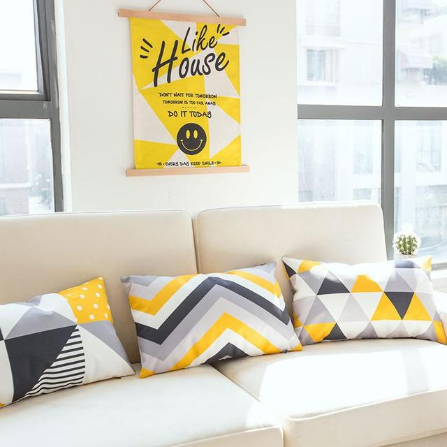 Yellow&Gray Geometric Pattern Decorative Cushion Covers
