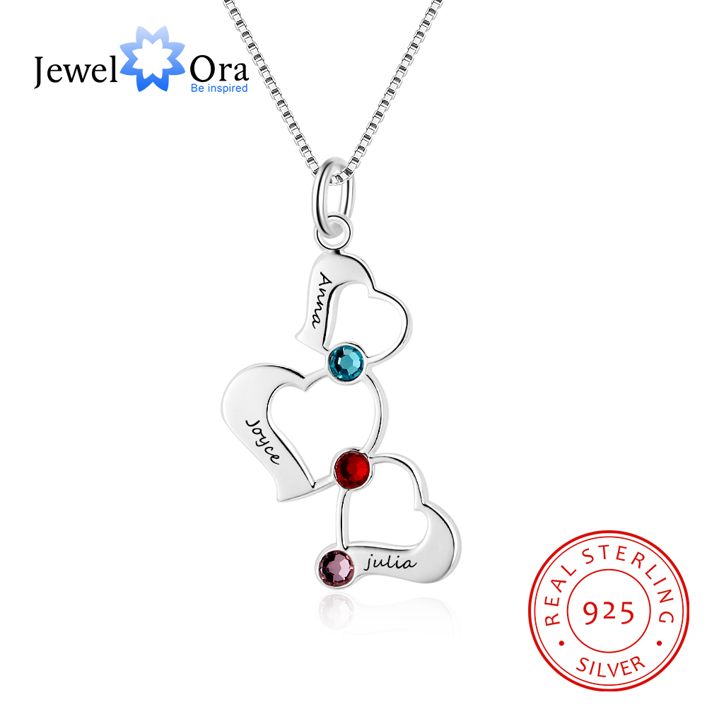 925 Sterling Silver Name Necklace Engraved 3 Name /& Birthstone Necklace Personalized Ring Pendant Anniversary Gift For Mom