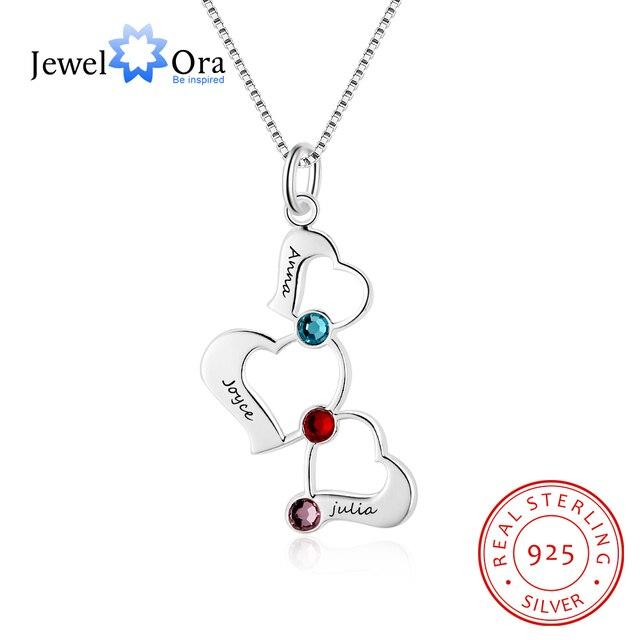 f8a04ee62fd7 3 corazón hueco diseño personalizado grabado nombre collar Birthstone 925  de plata esterlina collares y colgantes