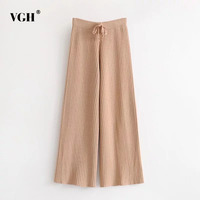 VGH Striped Lace Up Women S Elastic Knitted Trousers Black Autumn Winter High Waist Loose Slim