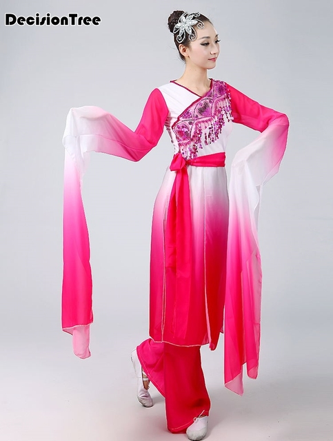 2019 new woman gradient ink water sleeves costumes chinese classical dance clothes black pink long sleeves hanfu ancient