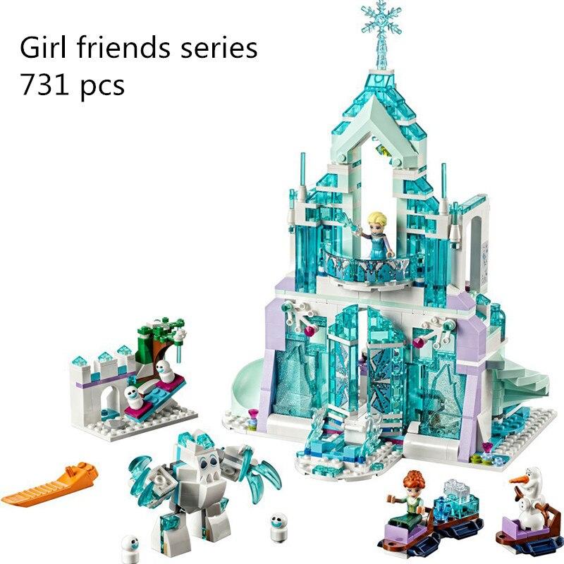 CX 25002 731 PCS Model building kits Compatible with Lego 41148 girl friends Elsa Magic Ice Castle Palace 3D Bricks figure toys hot fairy tale princess snow queen elsa magical ice palace building block anna castle bricks olaf figure lepins brick 41148 toys