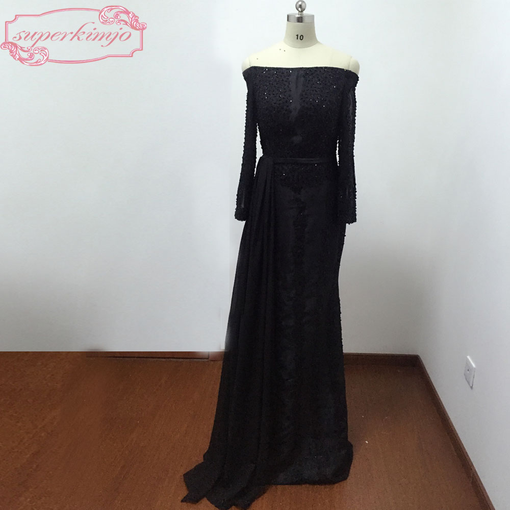 Black Evening   Dresses   Off the Shoulder Long Sleeve Lace Appliques Beading Crystal Sashes Black   Prom     Dresses   Real Picture