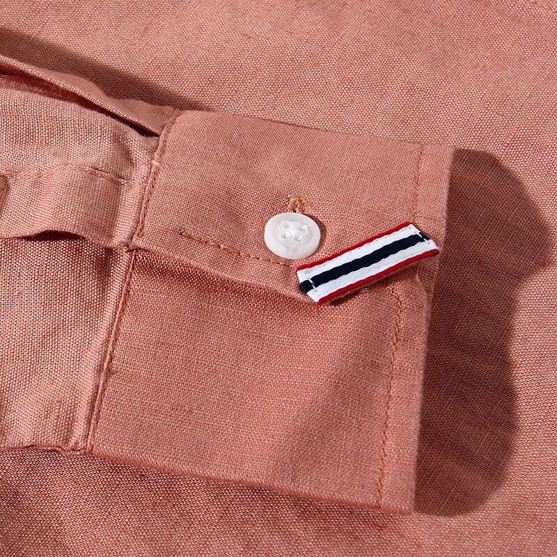 Mens le camice di vestito 2017 primavera nuovi arrivi stand solid completa del manicotto del retro di modo di giovane uomo casual in cotone e lino abbigliamento uomo - 5