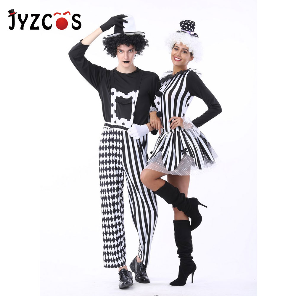 JYZCOS Adult Women Men Couples Circus Clown Costume Halloween Cosplay Costume Carnival Stage Drama Masquerade Dress