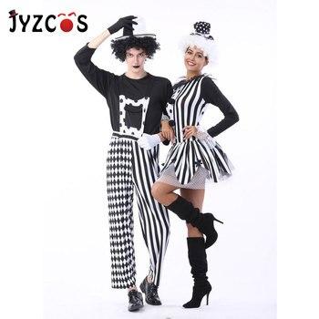 JYZCOS Adult Women Men Couples Circus Clown Costume Halloween Cosplay Costume Carnival Stage Drama Masquerade Dress movie thor ragnarok cosplay thor odinson costume men thor cosplay costume thor 3 outfit halloween carnival costume for adult