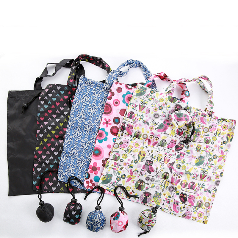 2019 Reusable Shopping Bag Floral Solid Color Grocery Bag Polyester Large Shopping Bag Foldable Waterproof Storage Bags