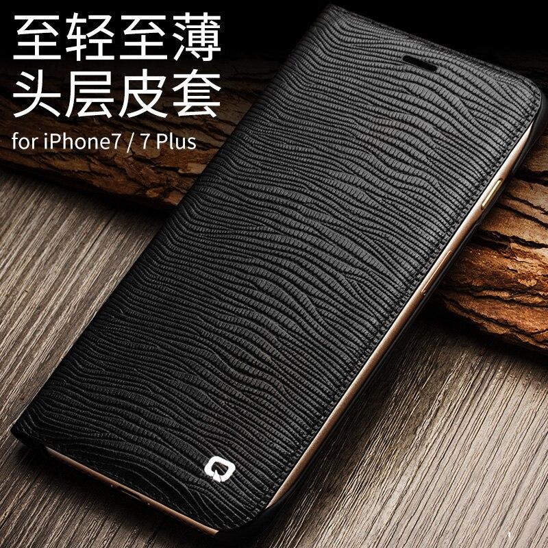 imágenes para 2017 para iphone7 plus 5.5 ''qialino marca bienes naturales completos cuero de grano genuino case cubierta de la carpeta para iphone 7 4.7'' lagarto
