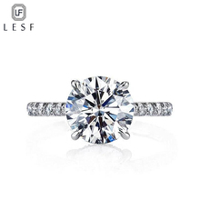 LESF Luxury Fashion Jewelry Ring Ladies 2 Carat Round Cut High-Grade Zircon 925 Sterling Silver Wedding Engagement Ring Welcome недорого