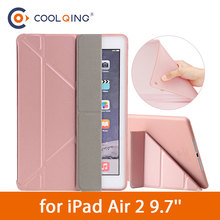 Multi-folded Soft Tablets Case For iPad Air 2 9.7 Protective Covers TPU+PU Leather Smart Tablet Case For iPad Air Case iPad 9.7