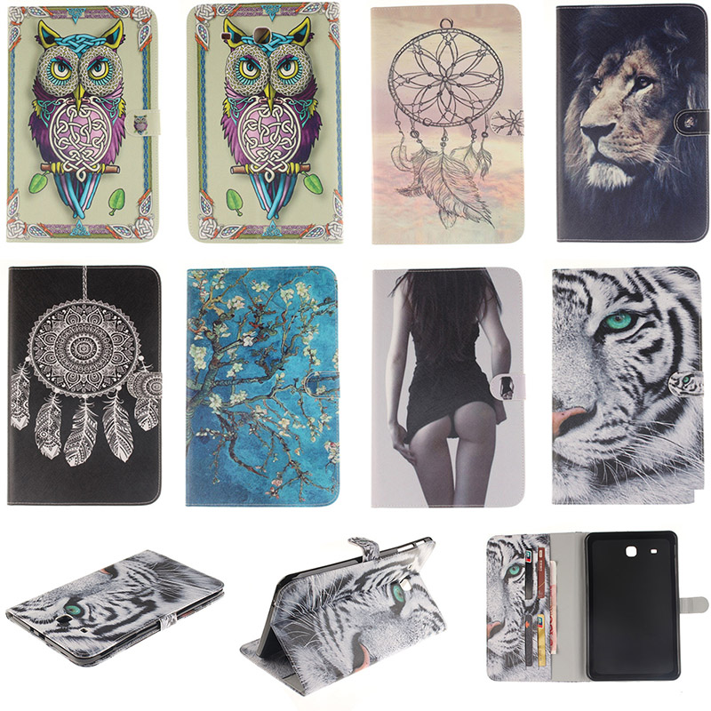 Fashion Cartoon Tiger Lion Pattern PU Leather Flip Case For Samsung Galaxy Tab E 9.6 T560 T561 Back Cover With Card Holder Funda