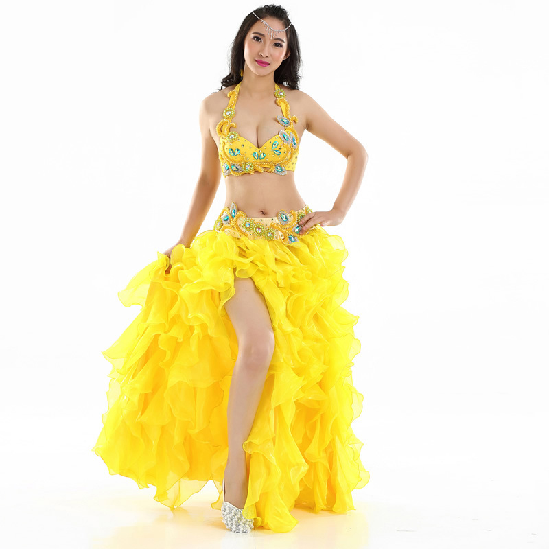 Professional Egyptian Bellydance Costume Set Rhinestone Bra B/C Cup Wave Skirt Egypt Belly Dance Outfits-in Belly Dancing from Novelty & Special Use    1