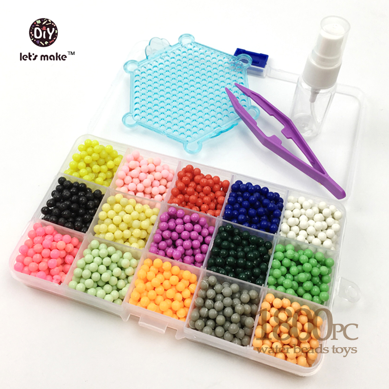 1800PCS 15Colour Water sticky perler beads pegboard set fuse beads jigsaw puzzle Water beadbond educational toys diy kids gift