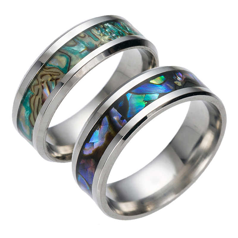 8mm Rings For Women Abalone Shell stainless steel Rings Engagement Ring Rainbow Rippled Abalone Inlay Stainless Steel