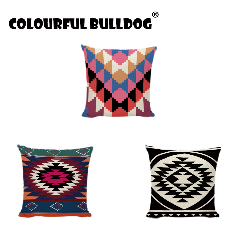 Ethnic style Black And White Geometric Trilateral Throw Pillow Cases Custom Printed Pillowcases Home Decor Modern Cushion Covers