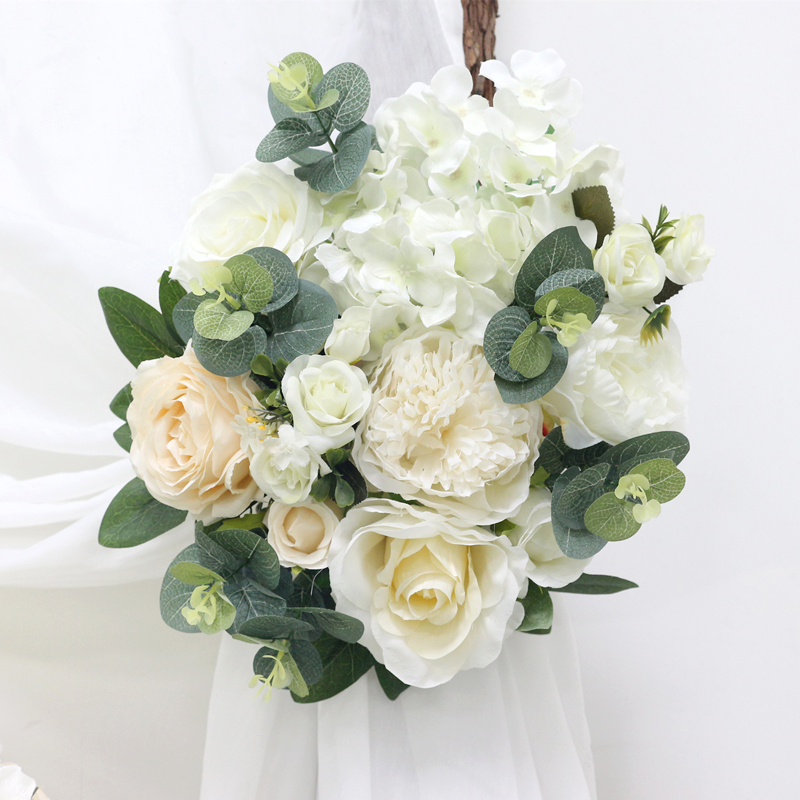 JAROWN Warm White Wedding Props Simulation Rose Hydrangea Flower DIY Set Artificial Plant Wedding Home Party Decoration Flores (7)