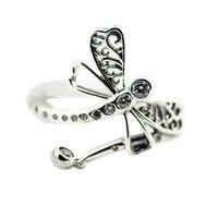FANDOLA CZ Кольцо стерлингового серебра 925 мечтательный Стрекоза обручальные кольца для Для женщин Bague Роковой Для мужчин ювелирные изделия Ден...