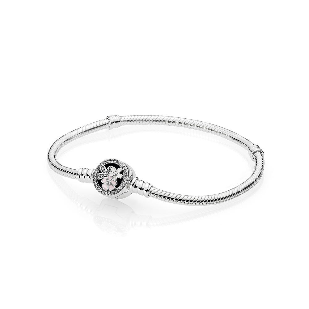 05b2acf740b Detail Feedback Questions about Authentic 925 Sterling Silver Moments  Poetic Blooms Clasp Pandora Bracelet Clear CZ Fit Original Bead Charm Bangle  DIY ...