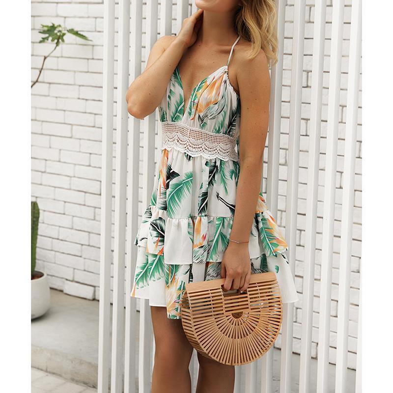 Sexy Women Dresses 2018 Summer Beach Backless Ladies Dresses Casual Lace Regular Sleeveless Women Dress Clothing WS8091P