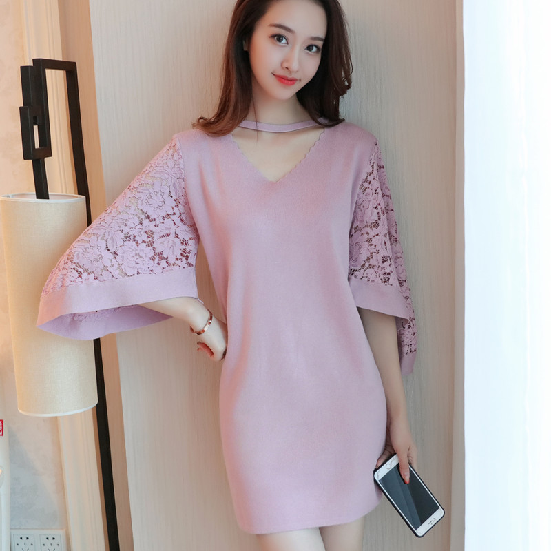 HAO HIJ SHEN 2017 herfst nieuwe Koreaanse dames fashion kant mouw V-hals trui jurk woord