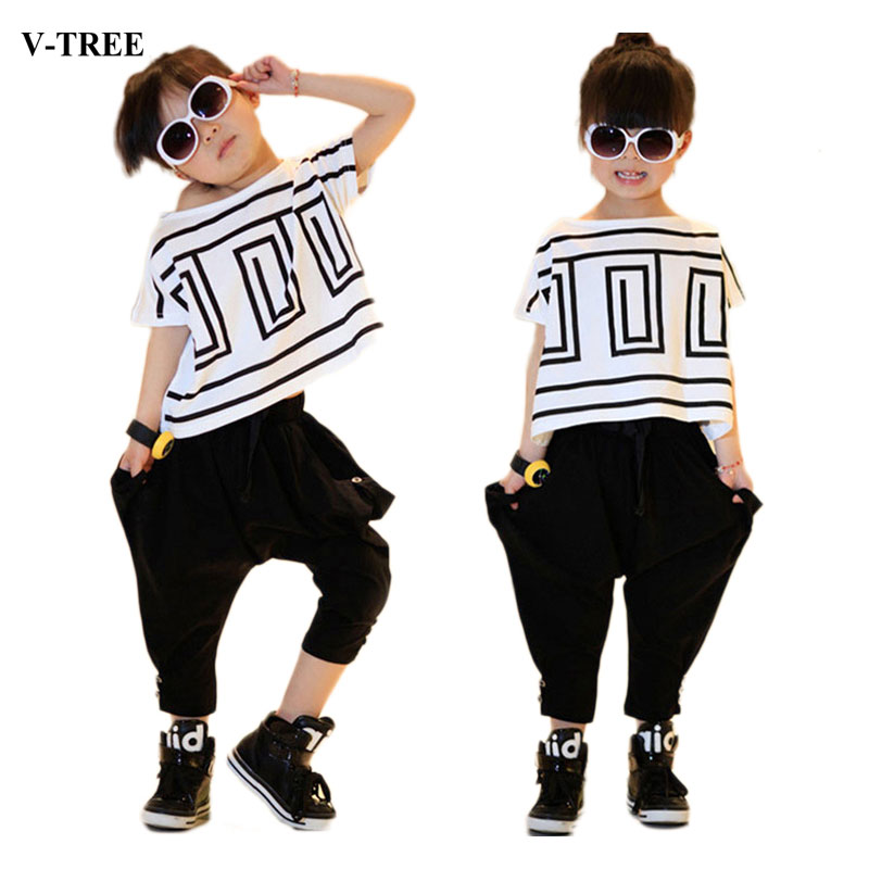 Summer Girls Sports Suits Batwing Shirts +harem Pants Clothes Sets For Children Costume Kids Clothing Sets