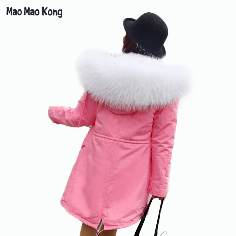 2017 New Women Winter pink Jacket Coats Thick Parkas Plus Size Real Raccoon Fur Collar Hooded Womens Parkas Outwear plus size 2017 women outwear long camouflage winter jacket thick parkas raccoon natural real fur collar coat hooded pelliccia
