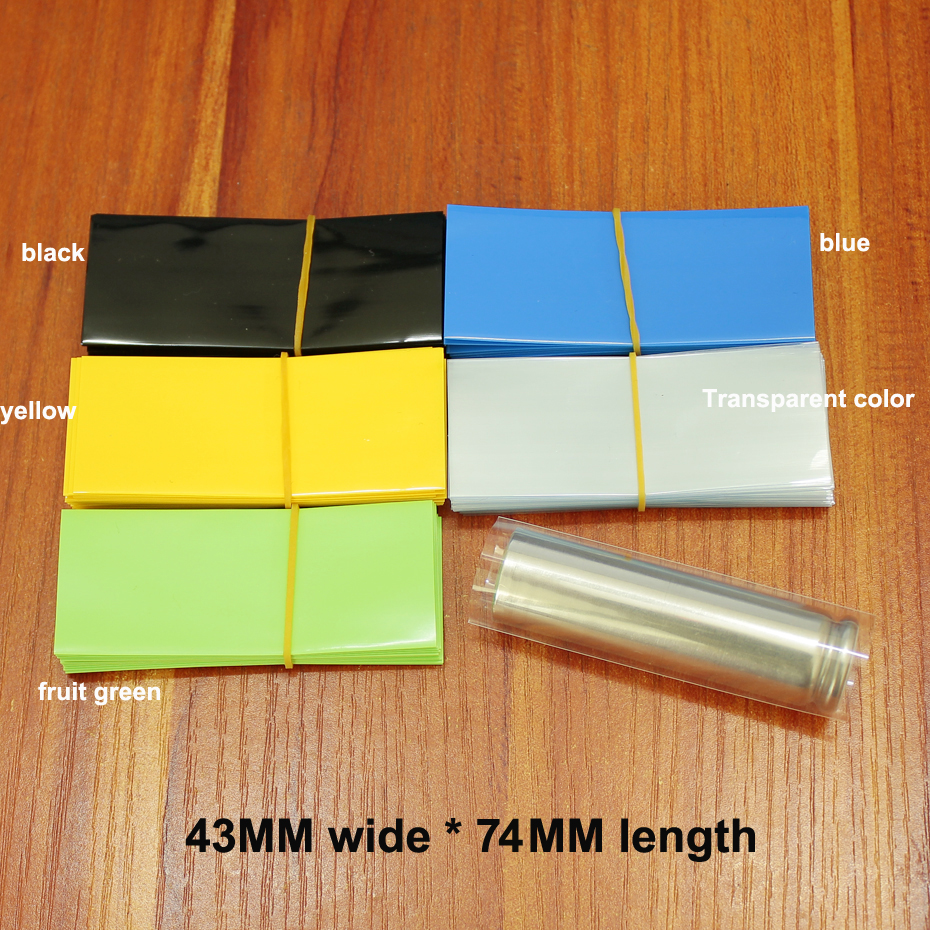100pcs/lot Lithium Battery Package Heat Shrink Tubing 26650 Dedicated Battery Skin PVC Plastic Insulation Shrink Film
