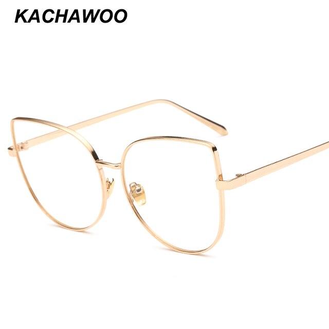437fadea386 Kachawoo oversized cat eye glasses female clear lens metal frame black  silver gold big size sexy eyeglasses women accessories