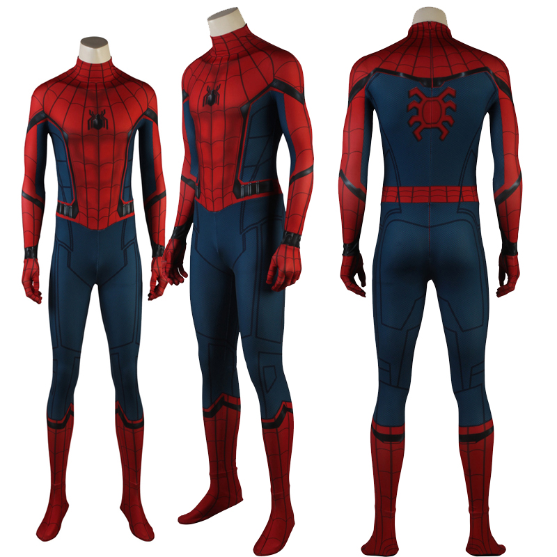 Newest Spiderman Homecoming Superhero Cosplay Costume Halloween Spandex Suit Jumpsuits Mask Hot Sale