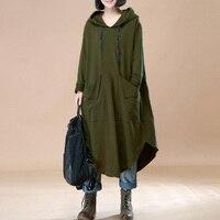2018 Autumn Winter Pullovers Women Solid Long Batwing Hooded Sweatshirt Coat Casual Pockets Outwear Hoodies Jacket